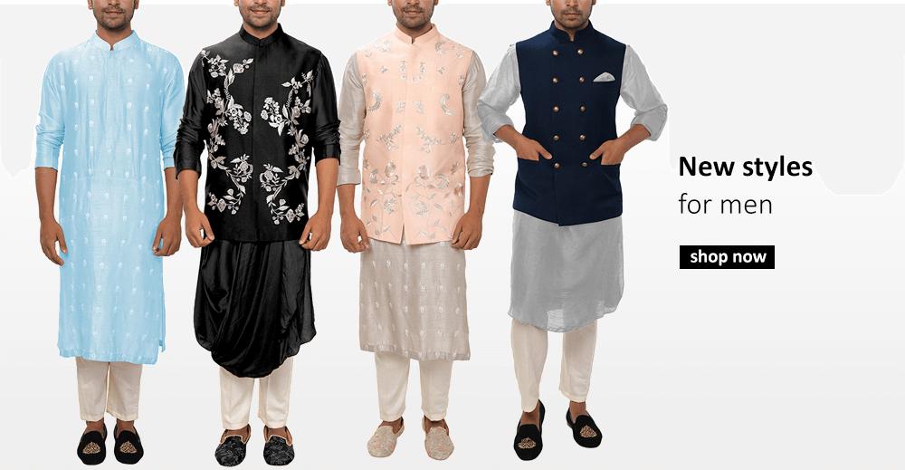 Buy Indian designer kurtas for men including summer kurtas, embroidered kurtas and kurtas with nehru jackets