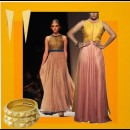 yellow and peach gown by designer label SVA