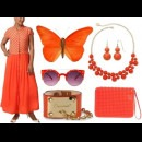 Indian fashion designer brand Myoho's orange Indian designer dress