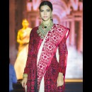 Stunning Ramp Look in a Threadwork Embroidered Red Saree by Manish Malhotra