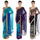 Beautiful and Embroidered Sarees in Blue, Indigo and Black from Priti Sahni