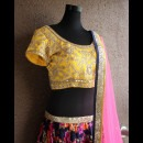 Beautifully Embroidered Yellow Blouse by Priti Sahni