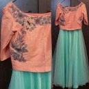 Peach and Mint Summer Inspiration Crop Top and Skirt from Priti Sahni