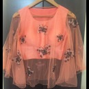 Peach Cape and Crop Top with Embroidered Butterflies