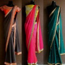 Black, Pink and Green Embroidered Sarees by Priti Sahni