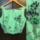 Titli Embroidered Crop Top in Green from Priti Sahni