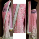 Pinking and Pearling - Pink Coloured Saree with Pearl Detailing by Priti Sahni