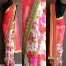 Pink Floral themed Saree by Priti Sahni