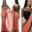 Rose Saree and a Black Blouse Combo by Priti Sahni