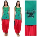 Green Butterfly Embroidered Tunic and Red Dhoti Pants