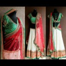 Traditional Style Green, Red and White Embroidered Lehenga by Priti Sahni