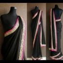 Black Saree with Gold and Pink Accents from Priti Sahni