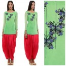 Floral Embroidered Green Crop Tunic and Dhoti Pants by Priti Sahni