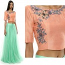 Mint Green Skirt Paired with Peach Crop Top from Priti Sahni