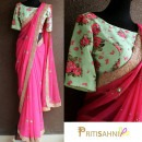 Pink Saree and Green Floral Printed Blouse by Priti Sahni