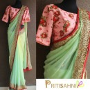 Mint Green and Floral Printed Saree by Priti Sahni