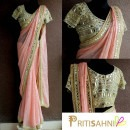 Peach Saree featuring Mirror Embroidered Blouse from Priti Sahni