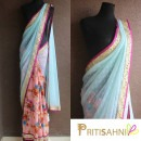 Peach and Blue Embroidered Floral Saree by Priti Sahni