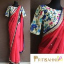 Pink Chiffon Saree and a Floral Printed Blouse from Priti Sahni