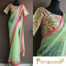 Lime Green Saree and Embroidered Floral Blouse from Priti Sahni