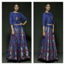 Blue Coloured Lehenga featuring Berry Woven Motifs from Rinku Sobti