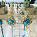 Turquoise, Pearl and Gold earrings by Roopa Vohra