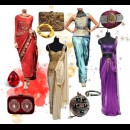 indian designers Raakesh Agarwal red blue cream and purple dresses
