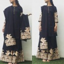 Parrot Embroidered Sharara Suit in Black from Surendri by Yogesh Chaudhary