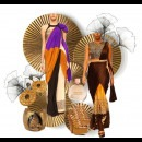Celandia Saree in Brown and Saree in Orange and Yellow by Indian Fashion Designers - Sougat Paul
