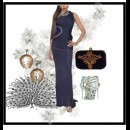 Blue Peacock - Blue Evening Dress by Indian Designer Raakesh Agarvwal