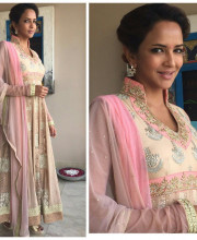 Lakshmi Manchu for an interview for the second anniversary of Tollywood channel 2 in an outfit by Bhumika Grover Picture: Instagram