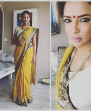 Lakshmi Manchu in a saree by Anavila and jewellery by Ritika Sachdeva for the curtain raiser of her father Mohan Babu's 40 years in Telugu cinema Picture: Instagram