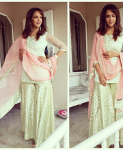 Lakshmi Manchu in an outfit by Amrita Thakur Studio for Varun Sandesh's engagement Picture: Instagram