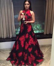 Bhumi Pednekar in a Black and Red Manish Malhotra Dress