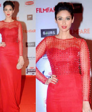 Ileana D'Cruz in a Red Dress by Nachiket Barve at the FilmFare awards 2016