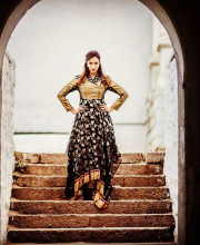 Lakshmi Manchu wearing an assymetric chanderi outfit by Rahul Mishra at the launch of For the launch of Teach for Change