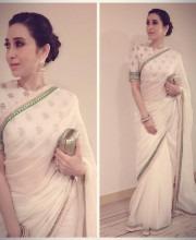 Karisma Kapoor in a White Chanderi Sabyasachi Saree