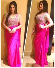 Zareen Khan Wearing a Saree Gown by Sonaakshi Raaj