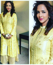 Lakshmi Manchu wearing a Rahul Mishra outfit for her father's book launch, Dialogue Book, at the House of Commons, British Parliament Picture: Instagram