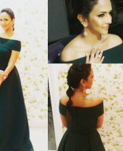 Lakshmi Manchu in a gown by Gauri and Nainika and earrings by Ghanasingh for the MAA awards Picture: Instagram