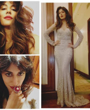 Chitrangda Singh in a Fitted Grey Dress
