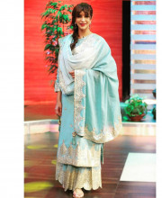 Lakshmi Manchu wearing an outfit by Sukriti and Aakriti and earrings by Sangeeta Boochra