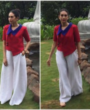 Karisma Kapoor in a Red and White Payal Khandwala Outfit