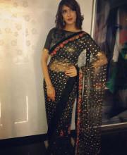 Lakshmi Manchu wearing a saree by Rehane for an event