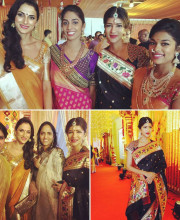 Lakshmi Manchu attending a friend's wedding wearing a saree from her mother's store