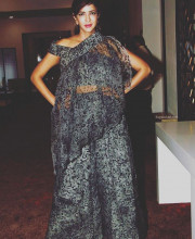 Lakshmi Manchu wearing Surendri for the press conference of the The Wedding Vows show