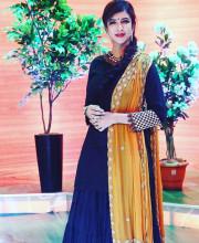 Lakshmi Manchu in an outfit by Sudhanshi Garg for Memu Saitham
