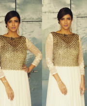 Lakshmi Manchu wearing an outfit by Varun Bahl and earrings by Rejuvenate jewels for Memu Saitham