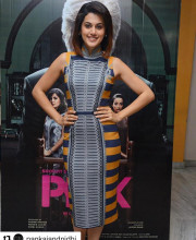 Tapsee Pannu in a dress from Pankaj and Nidhi s AW16 collection for the promotions of her movie Pink