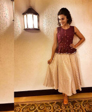 Tapsee Pannu wearing an outfit by Ekta and Sonal for a press conference in Kolkata
